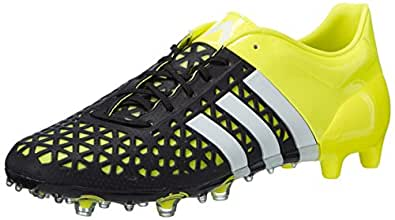 adidas Men's ACE 15.1 FG/AG Core Black, White and Solar Yellow Football Boots - 9 UK