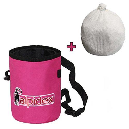 Pack ahorro: Bolsa de magnesia HIGHFLY color Pink Power + Bola de magnesia 35 g de Alpidex