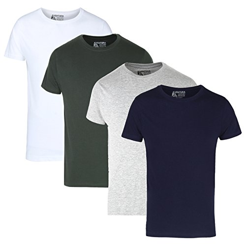 Aventura Outfitters Men's Multi Color Solid T-Shirts Pack of 4 - XL...