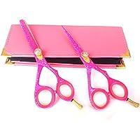 Forbici professionali da parrucchiere e sottile per il taglio dei capelli forbici barbiere Styling forbici Acciaio Giapponese 5.5con custodia rosa rasoio bordatura