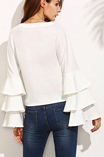 Frauen Elegant Langarm - Ärmel Sommer T - Shirt Blusen. White