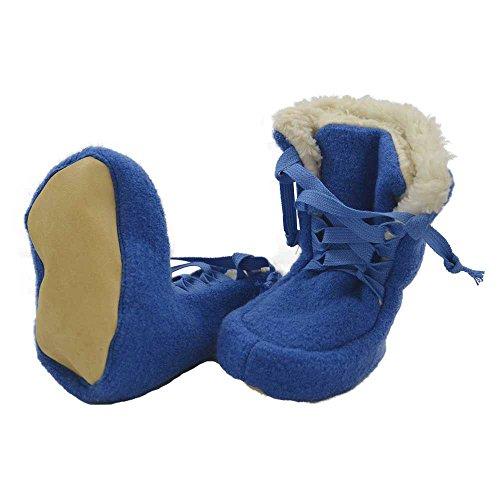 PICKAPOOH Baby Booties aus Wollwalk kbT mit Plüschfutter aus Bio-Baumwolle Blau