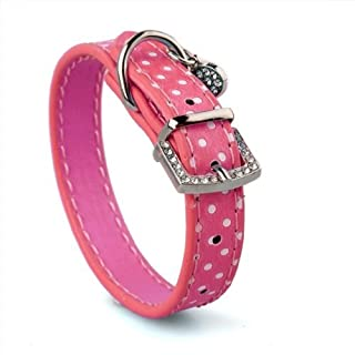 A-szcxtop(TM) Pink Heart PU Leather Dog Cats Pets Puppy Neck Safety Collars XS
