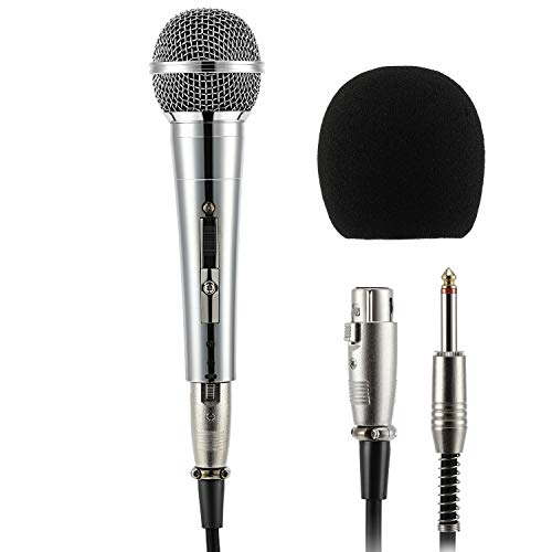 Moukey MWm-3 Dynamisches Mikrofon mit 5M/16.40 ft XLR-Kabel, kompatibel mit Karaoke Speaker Amp Mixer für Karaoke, Hochzeit, Bühne und Outdoor (Dynamisches Mikrofon Mit Kabel)