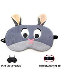 24x7 eMall Cute Bunny Eye Shade Cartoon Blindfold Eyes Cover Rest Patch Relax with Complete Back-Out Design, Snooze (Grey)