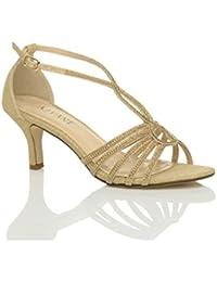 Ajvani Womens Ladies Mid Tacón Tiras en forma de diamante brillante novia boda T-bar sandalias zapatos talla