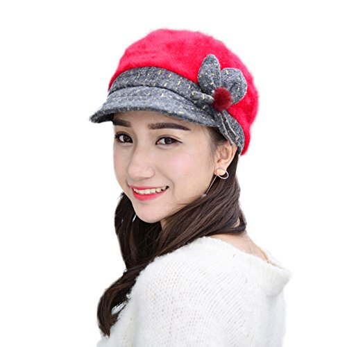 Women Girl Fashion Classic Knitted Warm French Style Peaked Beret Hat Flat Caps red