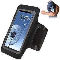 TechExpert Brassard tour de bras noir pour Samsung Galaxy S4 i9500 S3 i9300 idéal pour les sportifs, course à pied ou salle de sport, pochette pour clé et trous pour écouteurs.