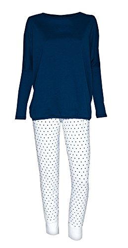 Louis & Louisa Pigiama & Infermieristica Strenchen / 2 1 Pigiama premaman Sleep Shirt + Pantaloni pigiama Biancheria da notte Chiuso pigiama - blu scuro / bianco, XL (46/48)