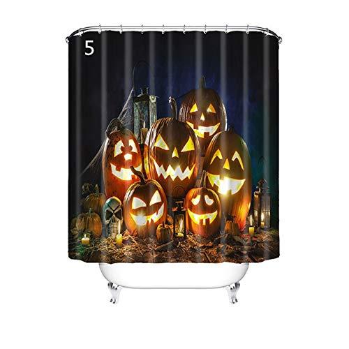 Knbob Duschvorhang Anti Schimmel Halloween-Stil Halloween-Stil 5 Shower Curtain 200X180CM mit Vorhanghaken Badezimmer Vorhänge