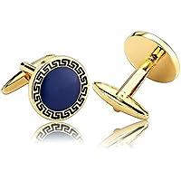 Epinki Uomo Acciaio Inossidabile Cubica Zirconia Rotondo Con Greco Chiavi Oro Blu Gemelli