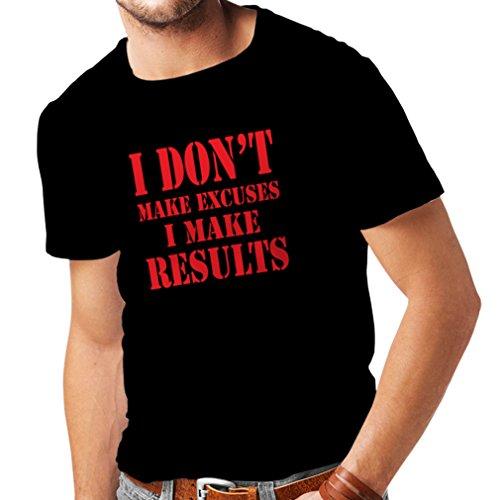 T-shirt pour hommes I make Results - perdre du poids des citations rapides et des énonciations de motivation constructeur de muscle (XXXX-Large Noir Rouge)