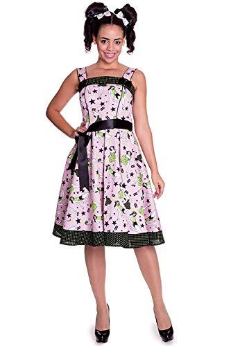 Hell Bunny - Dixie 50s Kleid Dress Rockabilly Rosa Multicolor (XS-XL) (XS) -