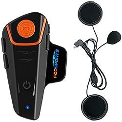 Bluetooth Moto Intercom BT-S2 1000M Système de Communication de Moto Bluetooth Interphone Casque avec Cordon Doux / Câble Microphone pour Moto Ski (Imperméable, 2-3 Riders Pairing, Noir)
