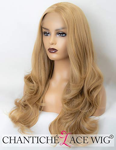 Chantiche Glueless Blonde Wavy Wig Long Soft Hair Synthetic Lace Front Wigs for Girls Half Hand Tied 24 Inch