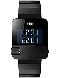Braun Men's Prestige Watch with Digital Display Black Plated Stainless Steel Case and Steel Strap BN0106BKBTG