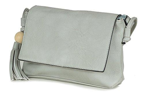 L & S Collection , Sac bandoulière pour femme ivoire Crème/beige Grau (Hellgrau)