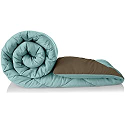 Amazon Brand - Solimo Microfibre Reversible Comforter, Single (Sky Blue & Taupe Grey, 200 GSM)