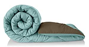Amazon Brand - Solimo Microfibre Reversible Comforter, Double (Sky Blue & Taupe Grey, 200 GSM)