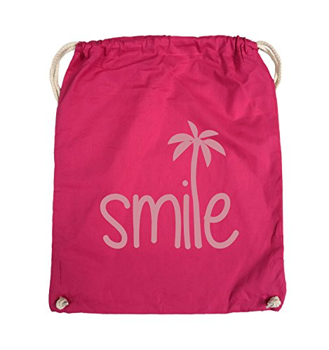 Borse Da Commedia - Smile - Palme - Turnbeutel - 37x46cm - Farbe: Schwarz / Pink Pink / Rosa