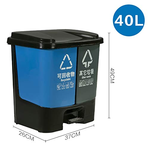 Dongyd Abfalleimer Papierkorb 40 Liter 2 In 1 Fußpedal Papierkorb Mülleimer 2 X 20L Recycling Innenfächer Abschnitt Müll Küche Eco Abfalleimer (Mülleimer 2 Abschnitt)