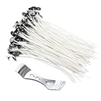Candle Wicks, 100 Pcs Pre-Waxed Wicks for Candle Making with Wick Holder Sustainer (20cm) (Only Sell by Amerisky)