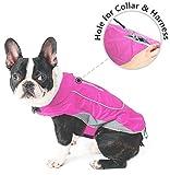 Morezi Premium Outdoor Sport Waterproof Dog Jacket Winter Warm Large Dog Coat with Harness Hole Pink - M