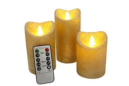 LED Flammenlose Kerzen Elektrische Realistisch Flackernde Kerzelichter Für Weihnachten Halloween Ostern Party Bar Hochzeit Dekoration mit Timer und Fernbedienung - 3er Set (Gold, 3er Set)