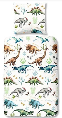 Aminata Kids - Kinder-Bettwäsche-Set 135-x-200 cm Dino-saurier-Motiv Jurassic T-Rex Urzeit-Tier Vulkan 100-% Baumwolle Renforce Weiss-e bunt-e