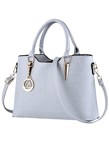 Menschwear Leather Tote Bag lucida PU nuove signore borsa a tracolla Rosa 1 Grigio