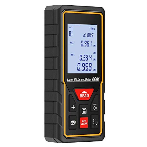 LESHP Laser-Entfernungsmesser Distanzmessgerät 60m (Messbreich 0,05~60m/±2mm, 30 Datenspeicherung mit LCD Hintergrundbeleuchtung und automatische Berechnung) für Volumen/Fläche / Pythagoras Messungen