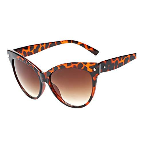 Dorical Damen Sonnenbrillen, Katzenaugen kleine ovale Sonnenbrille für Frauen Retro Metallrahmen gelb rot Vintage Sonnenbrille Sale(A)