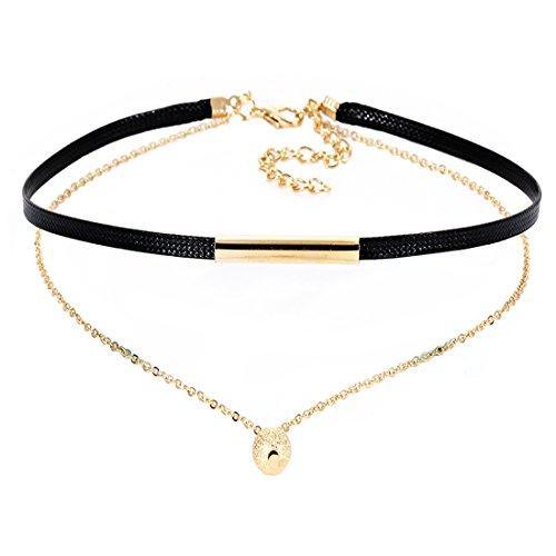 Tpocean Doppelschicht Faux Leder Choker Halskette Gold Kette Halskette mit Perlen Anhänger