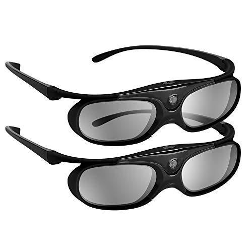 BOBLOV 3D Gafas Activas de Obturador, 96-144Hz 3D Gafas DLP-Link para DLP Proyector Optoma/BenQ/Sharp/Acer/Samsung/Mitsubishi/ViewSonic/LG ect (2 Pack-Negro)