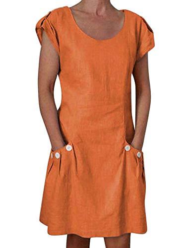 ORANDESIGNE Damen Kleider Strand Elegant Casual A-Linie Kleid Kurzarm Sommerkleider Strandkleider Lose Rundhals Einfarbig Kleid Boho Knielang Orange DE 40 - Orange Kleid Sommerkleid