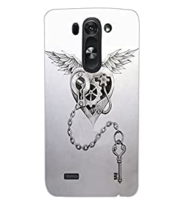 ColourCraft Heart and Key Design Back Case Cover for LG G3 S