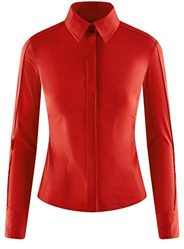 oodji Collection Damen Tailliertes Baumwoll-Hemd Rot (4500N)