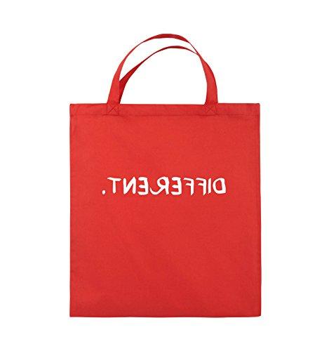 Borse A Tracolla - Diverse - Specchiate - Borsa Di Juta - Manico Corto - 38x42 Cm - Colore: Nero / Rosa Rosso / Bianco