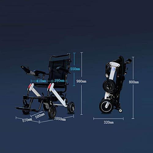 41R55cDAEzL - Silla de Ruedas eléctrica Plegable Plegable de Peso Ligero ancianas con incapacidades Inteligente automático con Cuatro Ruedas multifunción,10ah