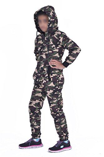 Kids Army Camo Print Onesie Hooded Jumpsuit All In One Boys Girls Fleece Tracksuit Age 7-13 - Kids Schlafsack Camo