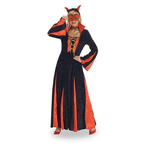 Edles Teufel Damen Kostüm langes Kleid mit frechem Stehkragen Tanz der Teufelin - 40/42