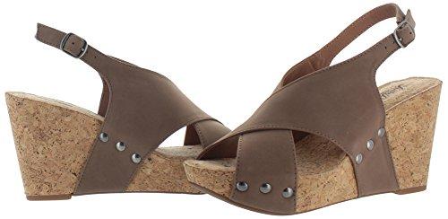 Lucky Brand Minari Leder Keilabsätze Sandale Taupe