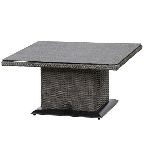 Siena Garden Lifttisch Porto, 90x90x40/52/65cm, Gestell: Aluminium, pulverbeschichtet, Fläche: Gardino-Geflecht in grau,Tischplatte: Spraystone