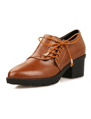 ZQ Scarpe Donna - Stringate - Tempo libero / Ufficio e lavoro / Formale / Casual - Comoda / A punta - Quadrato - Finta pelle - Nero / Marrone , brown-us8 / eu39 / uk6 / cn39 , brown-us8 / eu39 / uk6 / brown-us5 / eu35 / uk3 / cn34