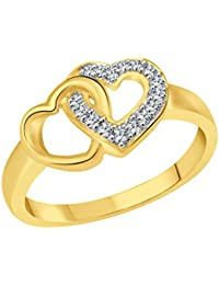 Vidhi Jewels Gold Plated Double Heart Alloy & Brass Finger Ring For Women [VFR289G]