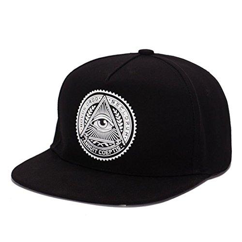 THENICE Classic Snapback Cap Regolabile Hip-hop Berretto da baseball (Nero)