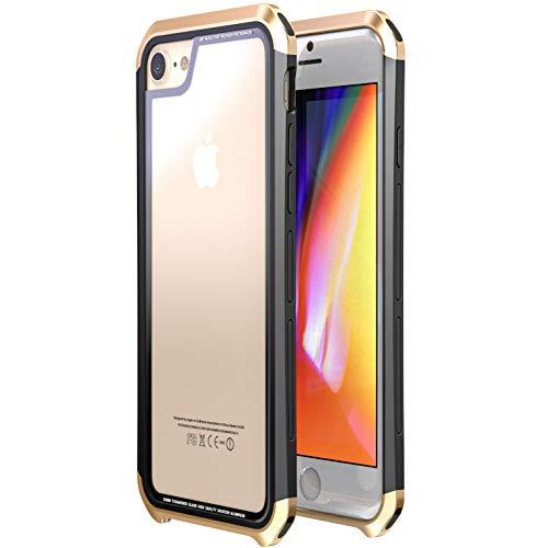 HANSHUO Telefon-Kasten für iPhone 8/8 Plus Hülle Double Dragon Kunststoffrahmen + transparente Hartglas-Schutzhülle für das Apple iPhone 7/7 Plus (Metall Telefon-kasten Iphone 5)