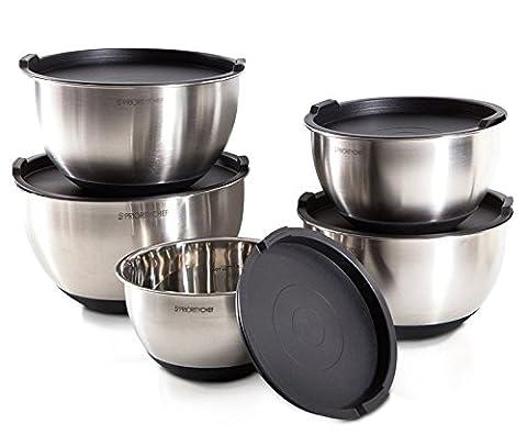 PriorityChef 5 Stück Rührschüsseln mit Deckel, hohes 5 Quart Fassungsvermögen, Edelstahl, rutschfester Silikonboden, stapelbar für minimalen Platzbedarf , schwarzer Sockel