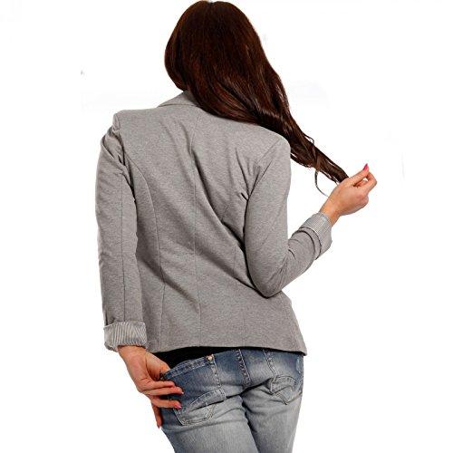 Uni Manches Made Blouson Veste Italy De Tailleur Gris Longues Femme XAf7qw