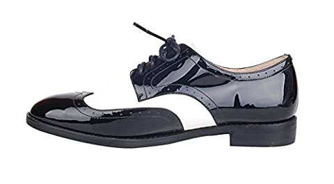 Verocara Women's Genuine Leather Fashion Wingtip Cut Out Oxford Neutral Shoes Black Patent 6.5 UK